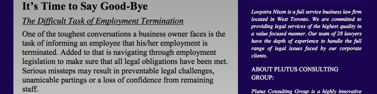 The Difficult Task of Employment Termination